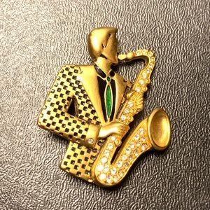 Vintage Bob Mackie Retro Man Playing Sax